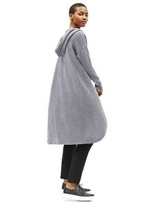 NWT $548 Eileen Fisher ASH Seamless Italian Cashmere Hooded Long Cardigan L XL