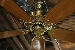 "Vintage Casablanca Ventura Ceiling Fan Inteli-Touch Bright Brass 50"" Made in USA"