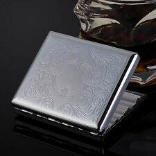 KUBOY carved arabesque stainless steel cigarette case holds 20 cigarettes KC1-15