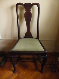 Antique 18th C. Oak Queen Anne Dining Chair c.1710 w/ repairs Welsh?