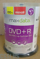 100 Pack DVD+R Disc 16X 4.7GB Maxell Blank Disk NEW Writable DVDR Recordable