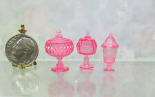 Dollhouse Miniature Set of 3 Pink  Candy Dishes in 1:12 Scale