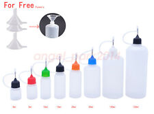 3ml-120ml Empty Dropper Plastic Bottles Needle Tip Squeezable Liquid PE +Funnels