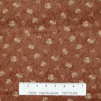 Calico Fabric - Tapestry Small Flower Bouquet Brown - Benartex YARD