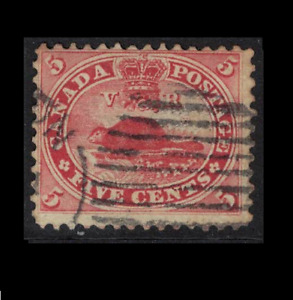 canada stamps - colony issues 1859 - 5c deep red beaver - sg32 - good used