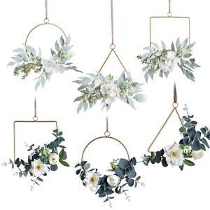 Gold Floral Hoop Flower Wreath Metal Rattan Wedding Home Door Hanging Decor