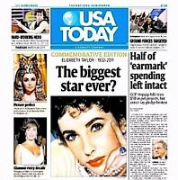 Elizabeth Taylor Newspaper USA Today Commemorative Tribute 2011 MT Liz Cleopatra