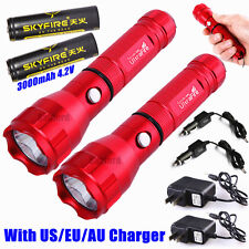 2pcs Red CREE Q5 LED 400meter 1000lumen TACTICAL RECHARGABLE FLASHLIGHT TORCH R5