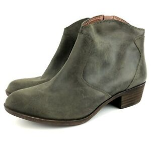 Lucky Brand Belia Leather Boots Booties Womens Size 8 Distressed Olive Green EUC