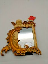 Hand Crafted Sculptured  Cherub Mirror,  objet d'art, by Poly Dragon UK