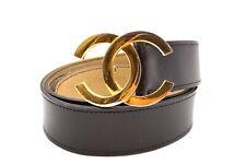 CHANEL Vintage Coco Mark Waist Belt CC Logo Buckle Leather Black 2860k