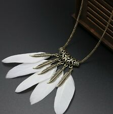 Women Vintage Feather Leaf Bronze Plated Tassel Pendant Long Bib Necklace Chain