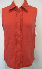 CASLON sleeveless coral cotton blouse, shirt with front design size M, NWT!