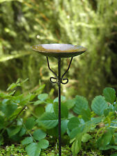 Miniature Dollhouse FAIRY GARDEN ~ Antiqued Metal Birdbath Pick ~ NEW
