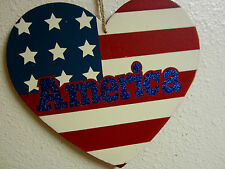 AMERICA HEART WOOD SIGN 4 TH OF JULY PLAQUE GLITTER INDEPENDENTS DAY  DECOR