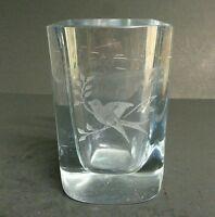 Rare Signed Strombergshyttan Swedish Glass Heavy Vase Etched bird hand signed