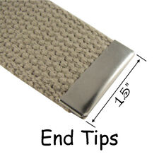 10 Metal Belt Buckle End Tips for Cotton Webbing - 1.5 Inch - Nickel Plated