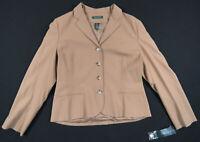 NWT Lauren Ralph Lauren Wool Stanwood Camel Tan Button Womens Jacket Blazer 14