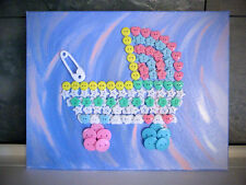 IT'S A GIRL/BOY! Button Art Baby Carriage Stroller on Canvas Mixed Media 11x14