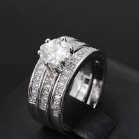 Silver Plated Stainless Steel Wedding Flower Zircon Ring Engagement Ring Set