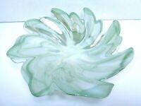 VINTAGE 1960s ART GLASS BOWL DISH IRIDESCENT GREEN ART NOUVEAU DESIGN FLOWER