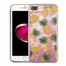 For iPhone 7 Plus/8 Plus Yellow Pineapple Quicksand Hard TPU Glitter Case Cover
