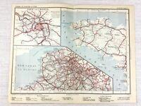 1902 Antique Railway Map of France Paris Lille Versailles Vannes French Railroad