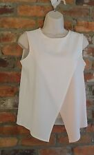 Zalora Dressy Sleeveless Blouse with Fabric Overlay in Pink and Cream size M