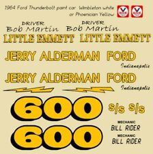 600 Bob Martin Jerry Alderman Ford Thunderbolt 1964 1/43rd Scale Slot Car Decals