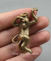 55mm Collect Chinese Bronze Brass Zodiac Animal Lovable Monkey Lucky Pendant 27g