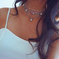 Boho Women 4Layer Star Opal Pendant Silver Chain Choker Necklace Fashion Jewelry