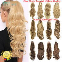 US Claw Pony Tail Wavy Hair Piece Synthetic Jaw Ponytail Clip in Hair Extensions