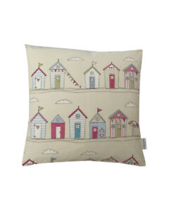 """16""""  Candy Pink Beach hut design scatter cushion covers pillow sham made in UK"""