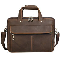 """Men Leather Briefcase 15.6"""" Laptop Travel Messenger Shoulder Bag Weekend Handbag"""