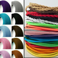 2 Core Braided Fabric Cable Lighting Lamp Flex Vintage - Choice of Colours
