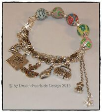 ♥ Dream-Pearls  Armband 5 Charms Fimo bunt Love Friends Stern 18cm + 3cm ♥ AB013