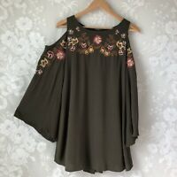 UMGEE Green Boho Tunic Dress Cold Shoulder Bell Sleeve Embroider Floral Women S
