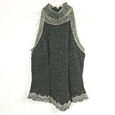 Stenay Womens 12 Silk Top Sleeveless Black Evening Dressy Beaded Vintage Mock