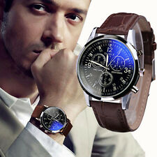 Luxury Mens Watch Faux Leather Band Blue Ray Glass Quartz Analog Wristwatches