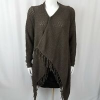 Willi Smith Women's Sweater Shawl Size Medium Wool Blend Long Sleeve Brown