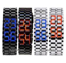 Volcanic Lava Samurai Metal LED Faceless Bracelet Wrist Watch Stainless Steel UK