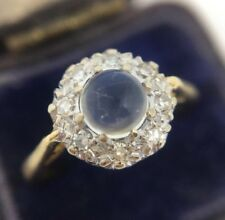 Stunning Victorian Sugarloaf Moonstone & Diamond Ring Band Set In 18ct Gold
