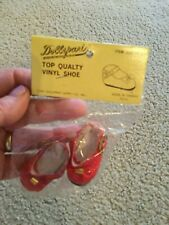"""Doll Shoe Solid Red Gold Tone Buckle Item 09015-1 Dress Shoe Dollspart 1.75""""Long"""
