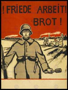 PROPAGANDA POLITICAL MILITARY AGRICULTURE PEACE WORK BREAD GERMANY POSTER CC4006