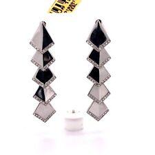 """14k White Gold 0.30 Ct Diamond Long Dangling Gypsy Earrings 1.46"""""""
