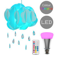 Easy Fit Children's Cloud Rain Drop Ceiling Pendant Shade + Colour Changing Bulb