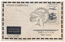Vv40 Poland Aviation 1959 Lot First Flight Cover Warsaw Paris {samwells-covers}