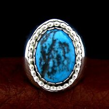 Sterling Silver Turquoise Ring  Size 10.5  Native American Made --- R11 A T