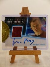Star Trek Into Darkness Autograph relic trading costume card Simon Pegg Scotty