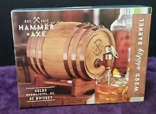 Hammer & Axe 27fl oz Wood Whiskey Barrel & Drink Dispenser